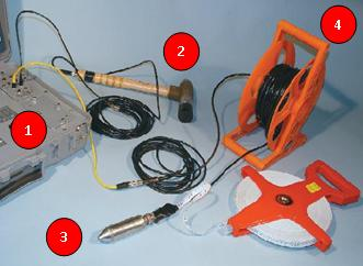 Image of the sensors, controller and cables for Parallel Seismic