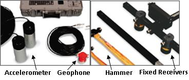 Accelerometer, Geophone, SASW Bar, Pavement System, Earth System