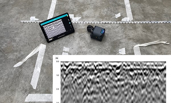 GPR scanning of steel reinforced concrete. This method produces a fuzzy and unclear image